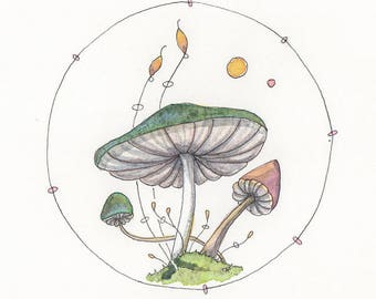 Mushroom art, Fantasy Mushrooms, Fungi art, Original OOAK painting.
