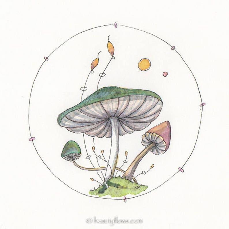 Mushroom art Fantasy Mushrooms Fungi art Original OOAK image 0