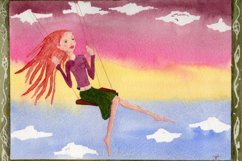 Swinging with Sunset Girls love to swing Flying in the Sky image 0