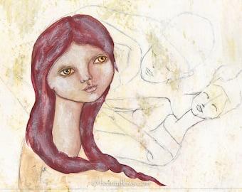 Woman feeling her inner Male and Female Guru, Meditation, Spiritual art, Red Head in Art, Zen art, One Postcard