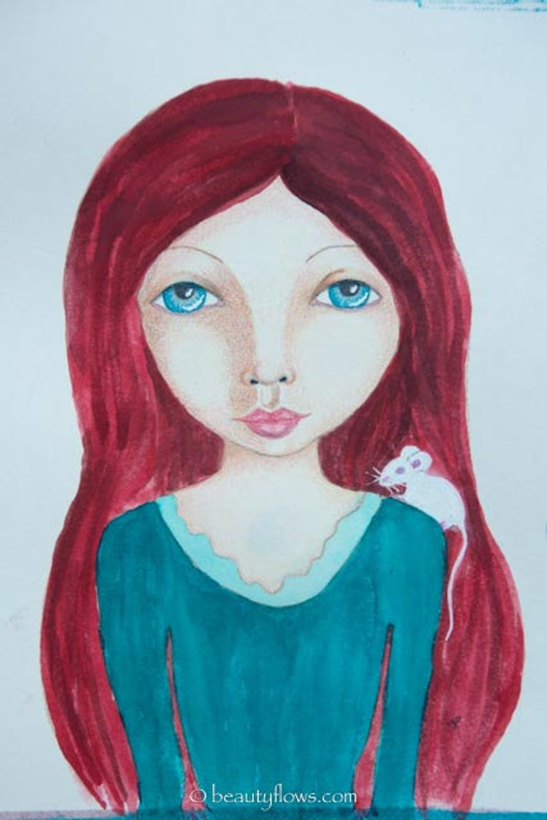 Red Head and Mouse Kin they are Friends Fantasy Art to image 0
