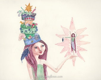 Happy Birthday to You, Fairy Dances for Cake, Magical Cake, Photograph or Greeting card