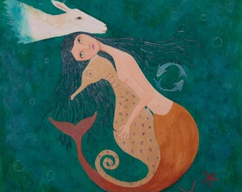 Mermaid and Seahorse, Pisces Wonderland, Ocean Fantasy Art, Whimsical Art Print 10x9 inches