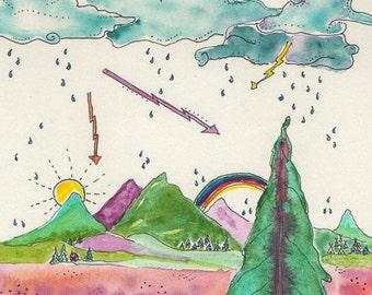 Montana Summer, Whimsical Art, Lightning Storm, Beautiful Summer, Greeting Card or Photographic Art Print