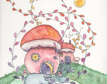 Fairy House, Fantasy Art, Whimsical Setting, Dream Landscape, Greeting Card or Art Print