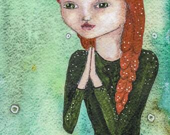 Heartfelt Prayer, Namasté, Redhead, Yogi Doing Loveing Kindness Meditation, Greeting Card or Photographic Art Print