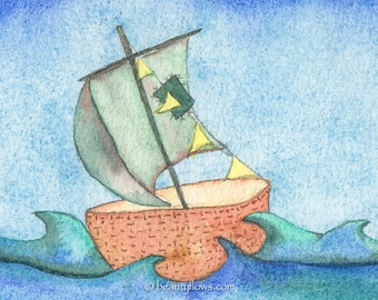 Sailboat, Prayer Flags, Open Sea, Adventure art, OOAK, Original Watercolor Painting
