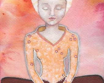 Yogini Meditation, Yoga, Baddha Konasana, Bound Angle, Butterfly Pose, Dhyana, Lotus Pose, Padmasana, Greeting card or Photographic Print