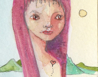 Redhead loves Mountains, ATC, ACEO, Watercolor Painting, OOAK