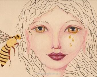 Honey Bee said to Me, Bee and Goddess, Honey Tales, Bee Totem Art, Honey Tears, Greeting Card or Art print