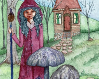 Wood Witch, Tiny House, Whimiscal Origninal Watercolor Painting