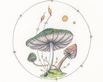 Whimsical Mushroom Art, Greeting Card or Art Print