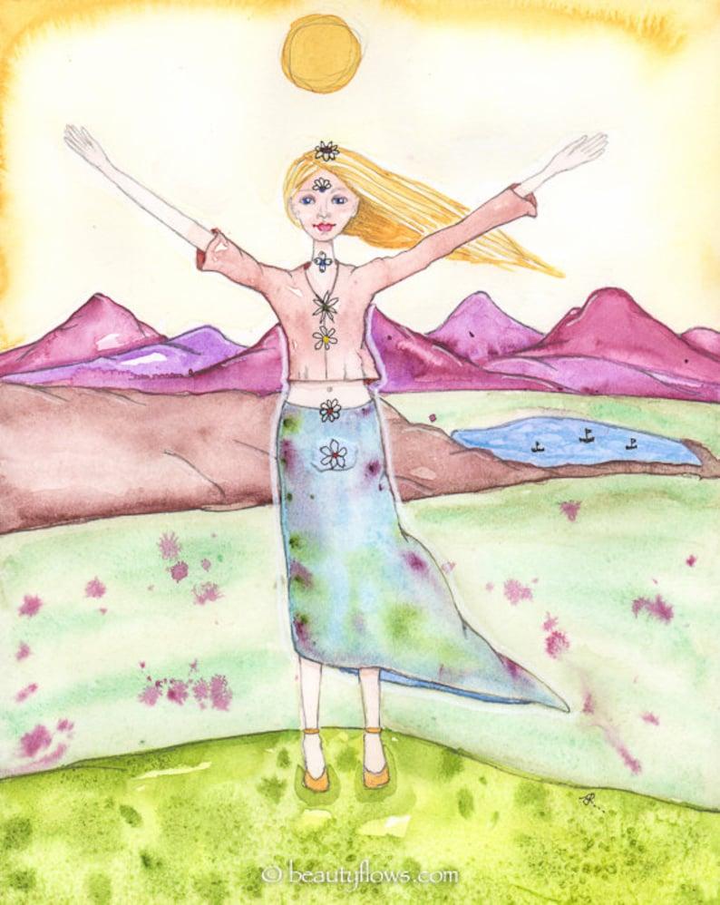 Chakras Aligned Mountain Pose Tadasana Yoga Art Spiritual image 0