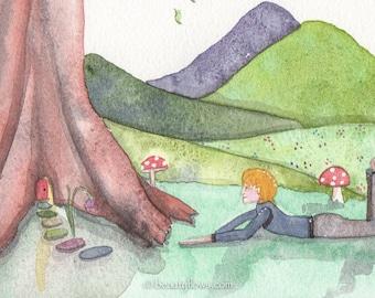 Boy's Room Art, Fairy Door, Whimsical Landscape, OOAK, Watercolor painting