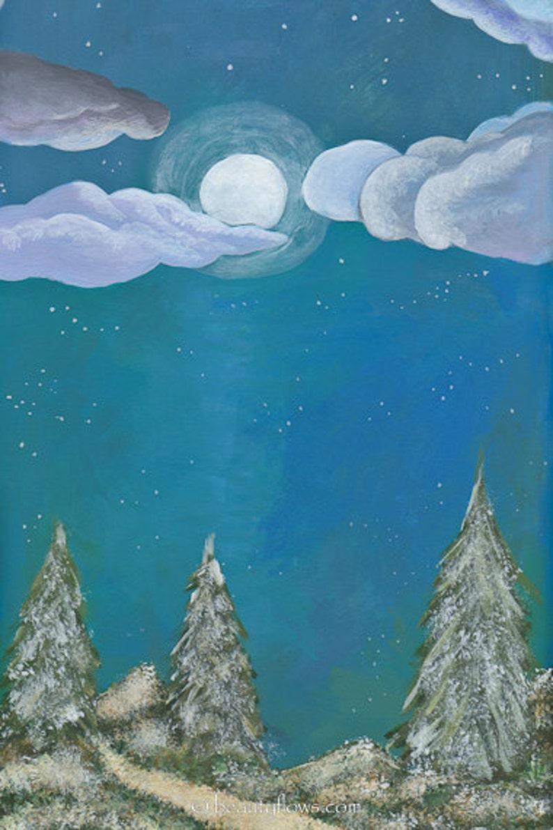 Winter Wonderland Montana Landscape Moonlight Forest Full image 0