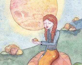 She Loves Rocks, Meditating Yogini, Spiritual Art, Montana Landscape, Greeting Card or Photographic Art Print