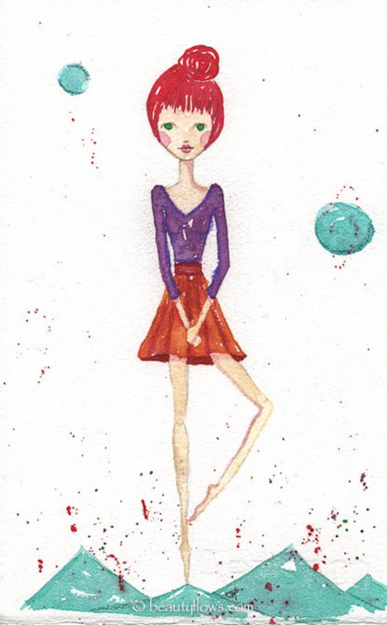 Redheaded Dancer On her Toes Oringinal OOAK Watercolor image 0