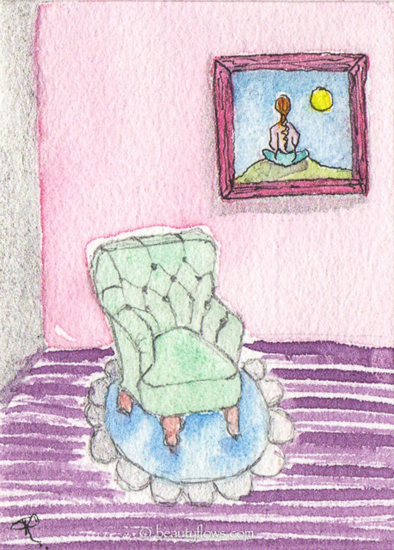 Meditation Old Fashioned Chair ACEO ATC Original image 0