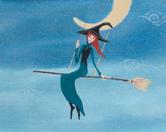 Witch Swinging from the Moon, Perfect Halloween Art, Swinging on the Moon, Greeting Card or Photographic Art Print