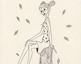 Autumn Sprite, Fairy of the Woods, Freckled Woman, Greeting Card or Photogaphic Art Print