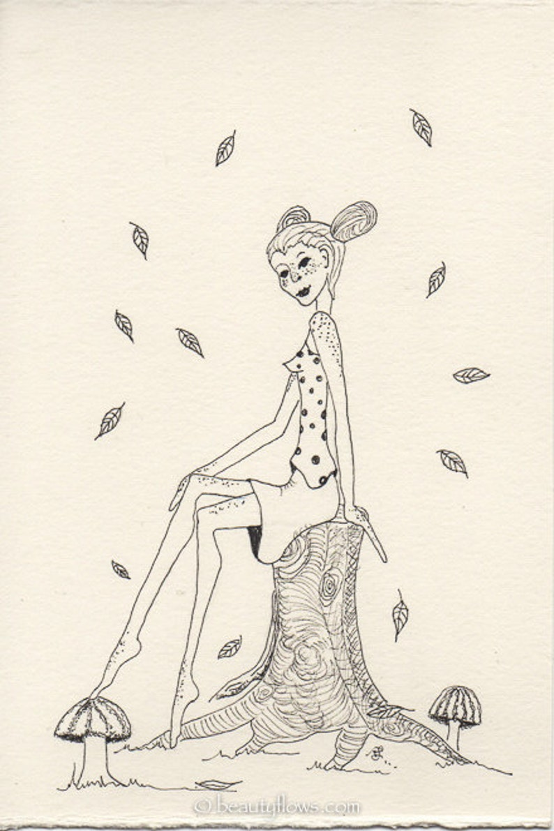Autumn Sprite Fairy of the Woods Freckled Woman Greeting image 0