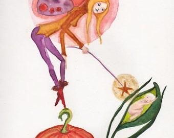 Baby Birth announcement, Fairy Godmother, Faery Grandmama, Halloween Pumpkin, New Born Child, Baby Shower, Greeting card or Art Print