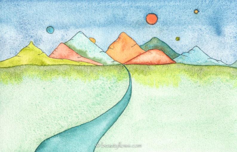 Fantasy Landscape Beautiful world Greeting Card or image 0