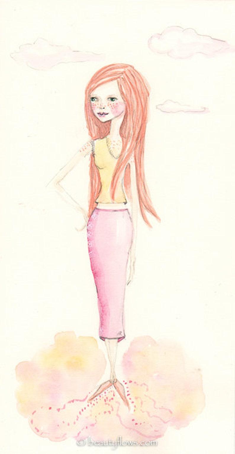Peach Freckles Watercolor Painting OOAK Redhead Gal image 0