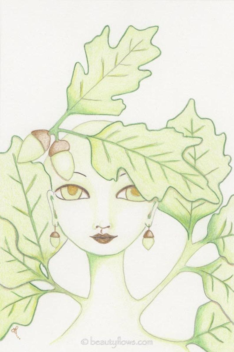 Oak Goddess OaK Tree and Acorns Acorn earringsOak Totem image 0
