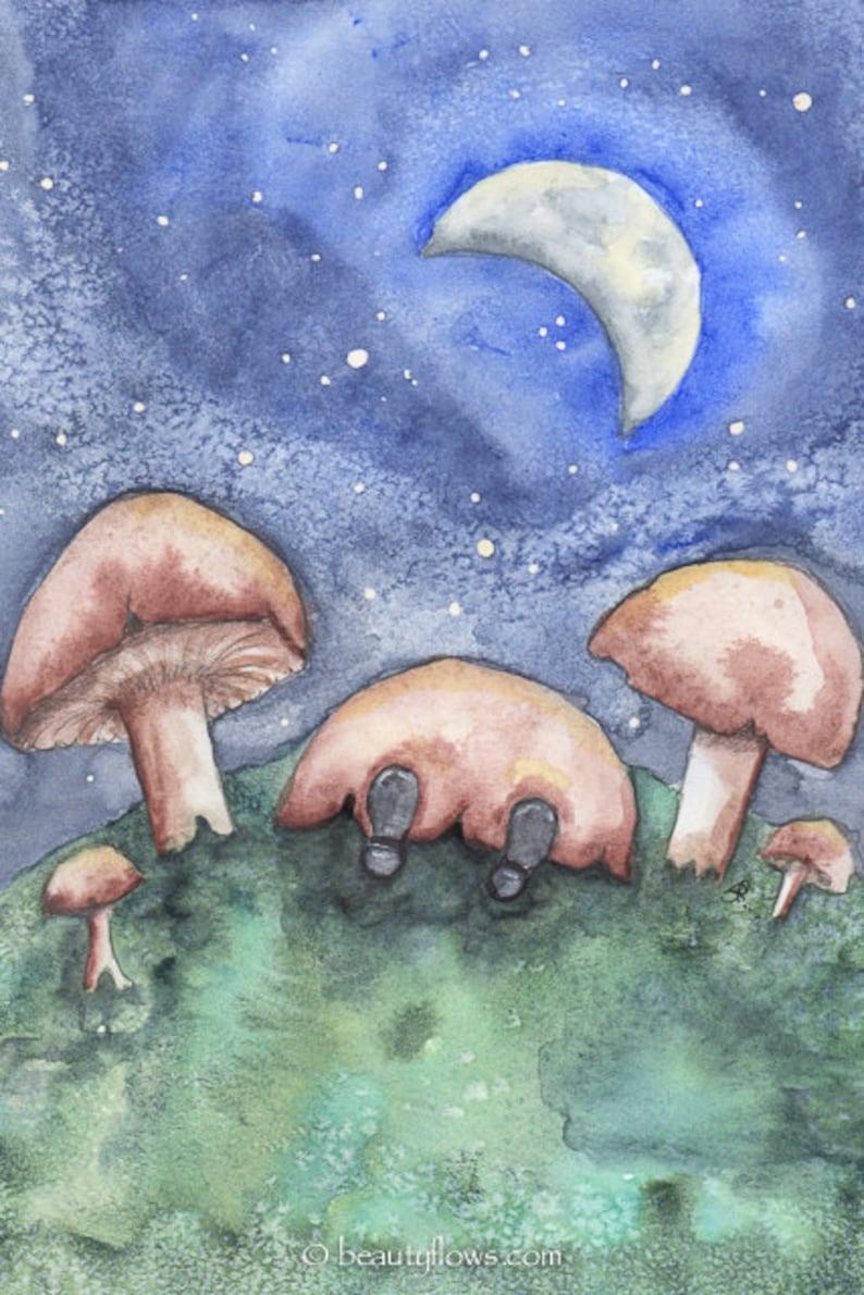 Sweet Dreams little Gnome Sleeping under a Mushroom Cap image 0