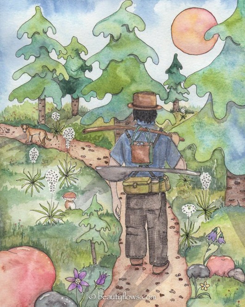 Hiking in the Forest Fisherman Greeting Card or Art Print image 0