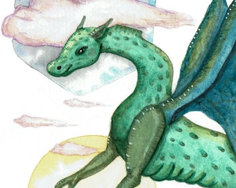 Freedom, Flying with Dragon,  Greeting Card or Art Print