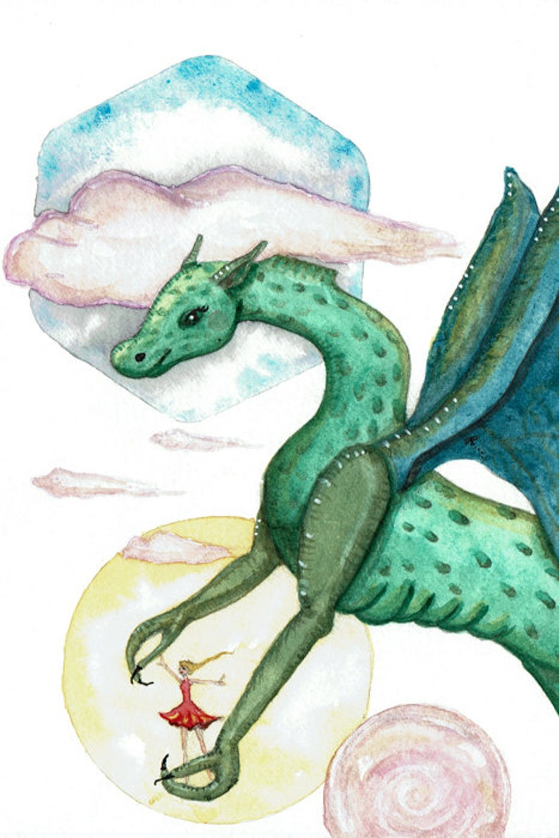 Freedom Flying with Dragon  Greeting Card or Art Print image 0