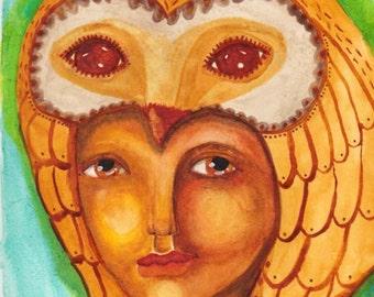 Halloween, Owl and Woman, Totem Art, Medicine Friend, Shaman Kin, Bird Woman, Greeting Card or Photographic Art Print