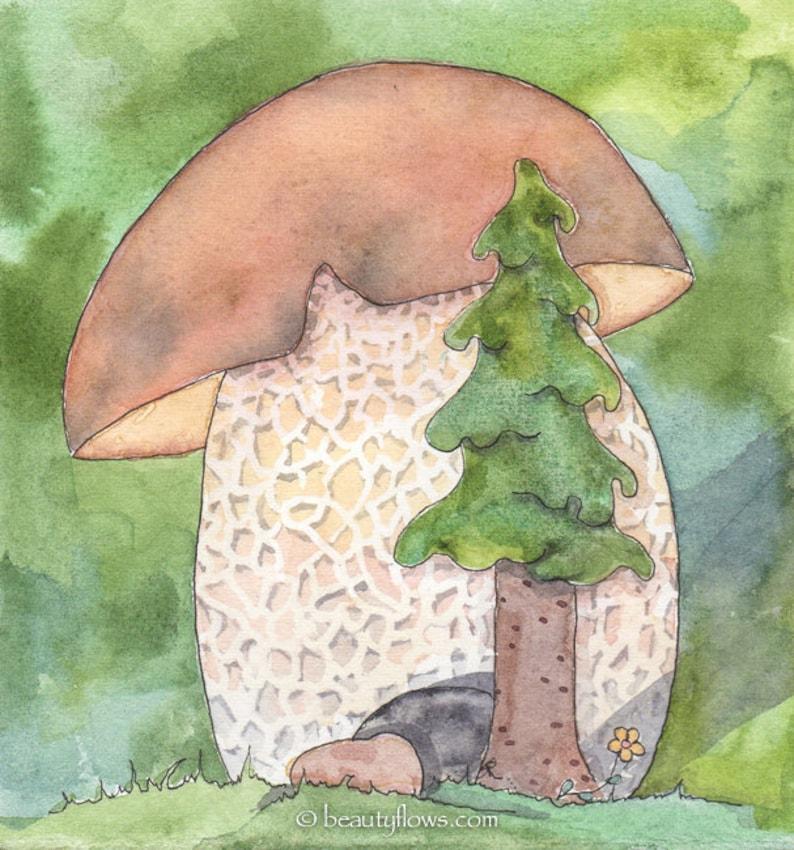 Bolette and Conifer Original watercolor painting OOAK image 0