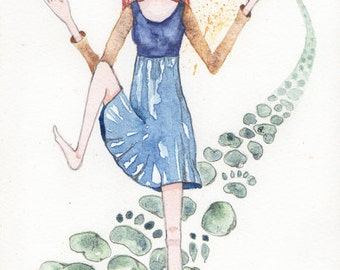 Dancing with the Tiny Folk, She is a Dancer, Greeting Card or Art Print