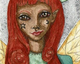 OOAK Red headed Fairy, ACEO Original painting