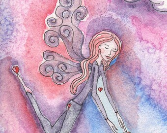 Valentine Fairy, Love Fairy, Earth Fairy, Valentine Art, Lovers Art, Peace on Earth, Greeting Card or Art Print