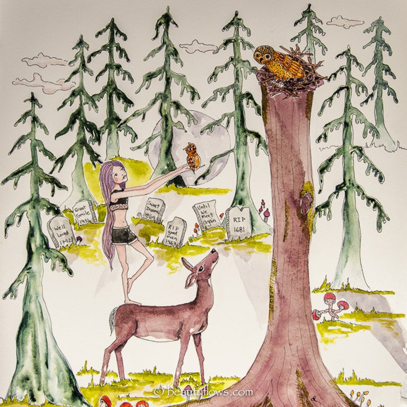 Forest Art Deer and Owl Totem Forest Fairy Halloween Art image 0