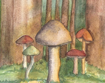 Forest Mushrooms, LIke a Fairy Tale, OOAK, Watercolor Painting