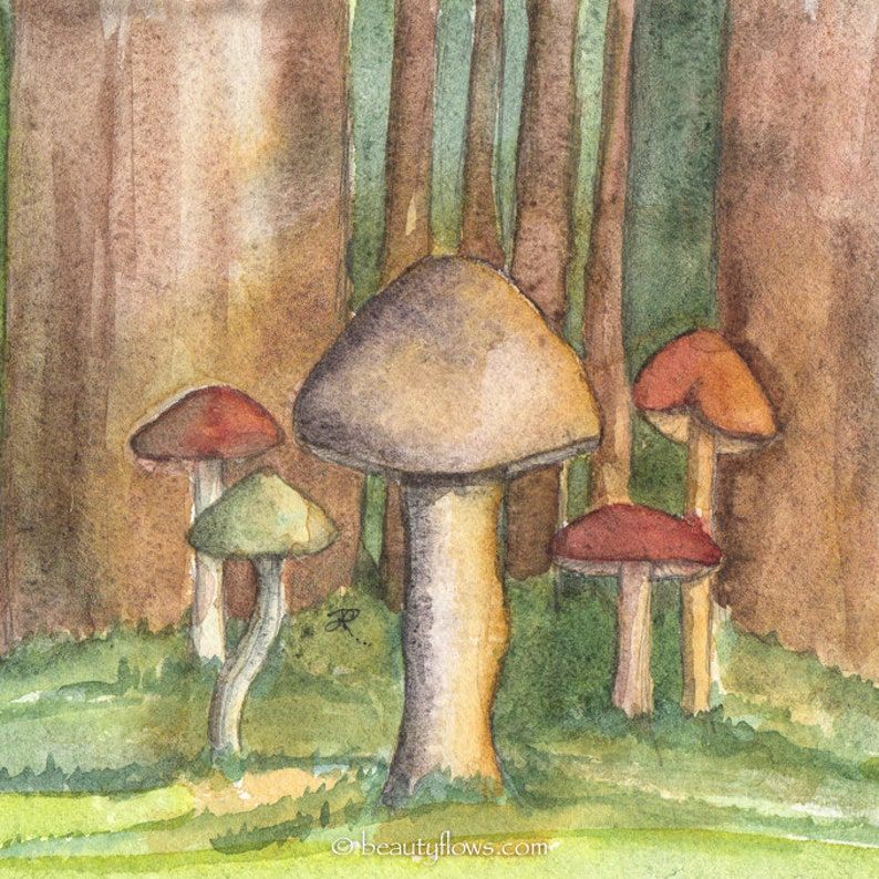 Forest Mushrooms LIke a Fairy Tale OOAK Watercolor Painting image 0
