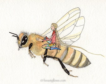 Bee Fairy, Honey Bee and Friend, Greeting Card or Photographic Art Print