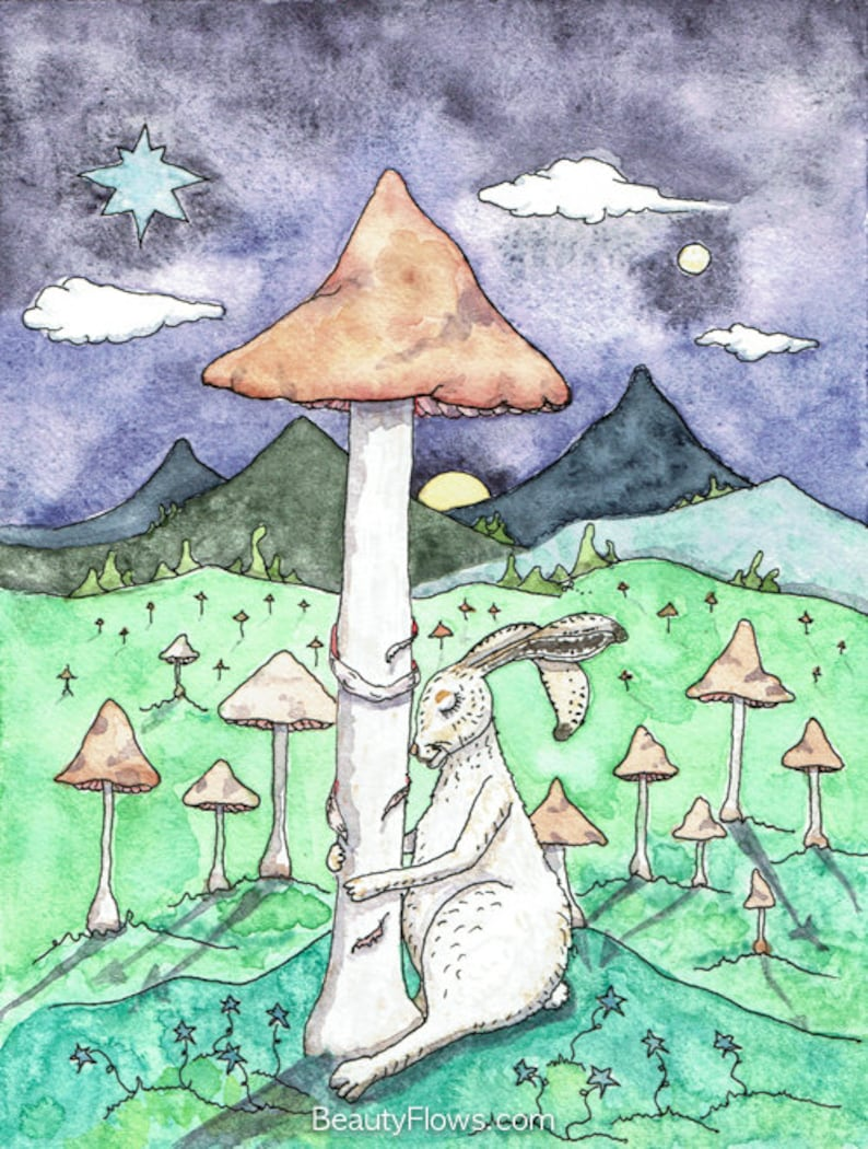 Snowshoe Hare Dreaming of Spring OOAK Original Painting image 0