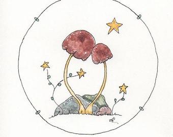 Tiny Painting of Two Mushrooms, A feeling of Closeness, Original Art