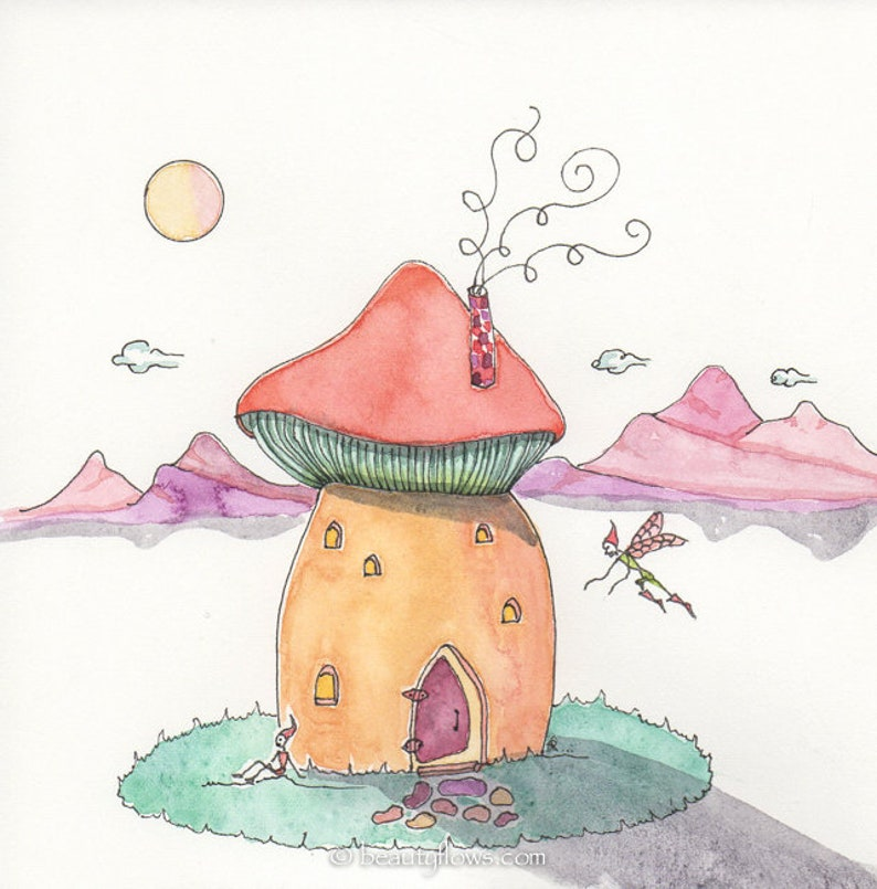 Home Sweet Home Fairy Home OOAK Original Painting image 0