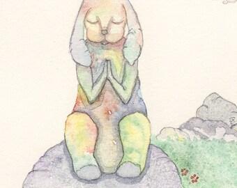 Bunny Prayer, Easter Art, Meditation, Spiritual Art, Whimsical Art, Yoga art, OOAK, Original Watercolor Painting