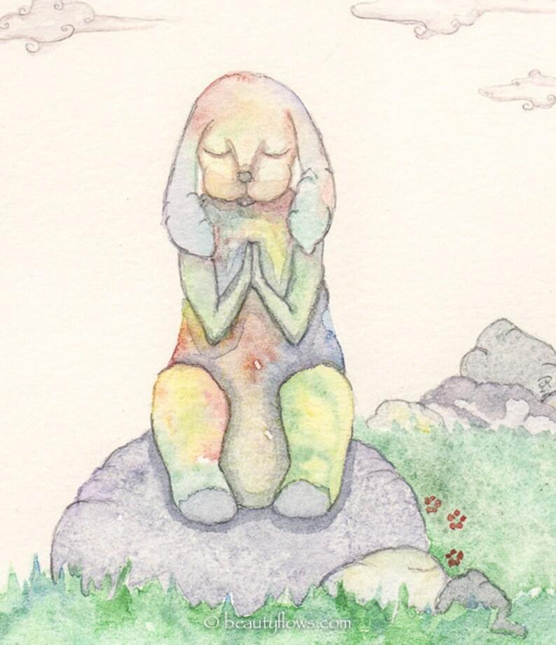 Bunny Prayer Easter Art Meditation Spiritual Art Whimsical image 0