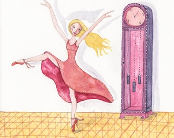 Dancer, Ballerina, Grandfather Clock Music, OOAK, Original Watercolor Painting