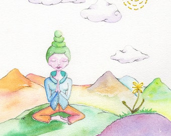 Prayermfor our World, Meditation, Namasté, Inner Realm, Dhyana, OOAK, Original Watercolor painting