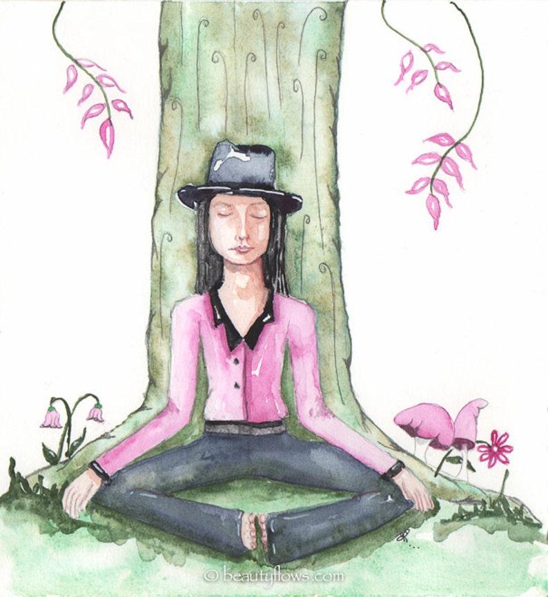 Man Meditating  Dhyana OOAK Original Watercolor painting image 0